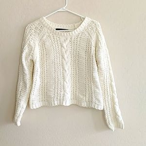 Lara Knit Ivory Cropped Sweater - Size XS